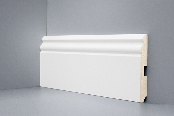 U105 - 120 мм широкий белый плинтус МДФ Deartio
