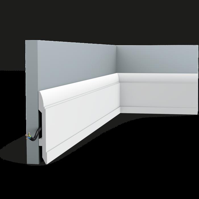 Современный плинтус с линейным дизайном. Благодаря неброскому дизайну этот плинтус может применяться для отделки самых разных интерьеров.